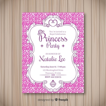 Platte gestippelde prinses partij uitnodigingssjabloon