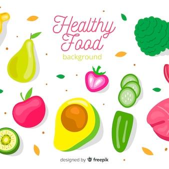 Platte gezond voedsel achtergrond