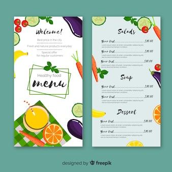Platte gezonde menusjabloon