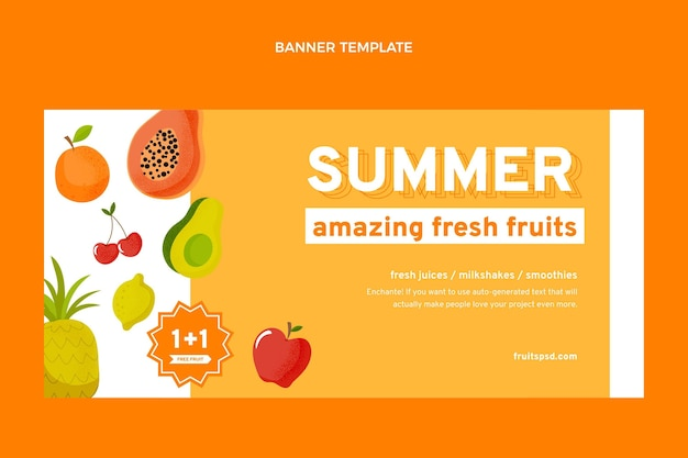 Platte gezonde vruchten verkoop achtergrond