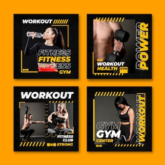 Platte gezondheids- en fitness-instagram-berichtenverzameling met foto Gratis Vector