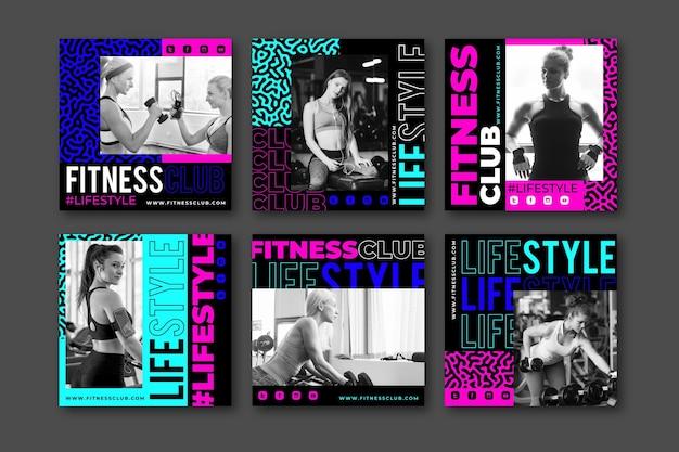 Platte gezondheids- en fitness-instagram-berichtenverzameling met foto