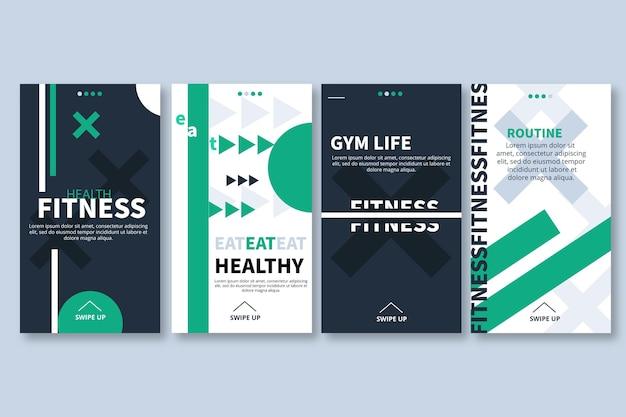 Platte gezondheids- en fitness-instagramverhalencollectie