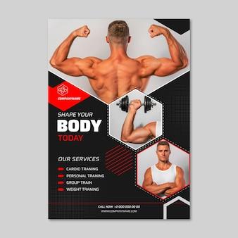 Platte gezondheids- en fitnessbanners met foto