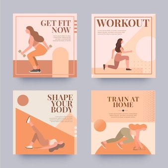 Platte gezondheids- en fitnesspostverzameling