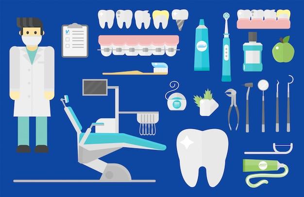 Platte gezondheidszorg tandarts accessoires ingesteld