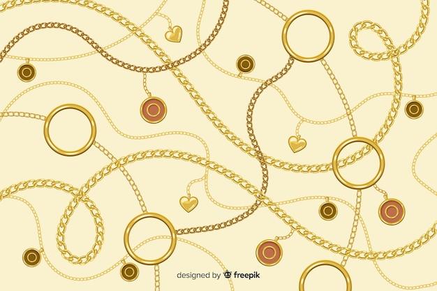 Platte gouden kettingen achtergrond