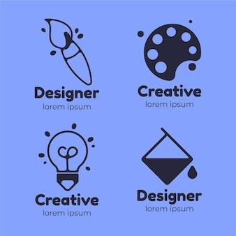 Platte grafisch ontwerper logo-collectie