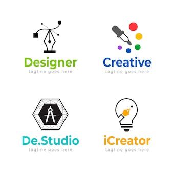 Platte grafisch ontwerper logo sjablonen