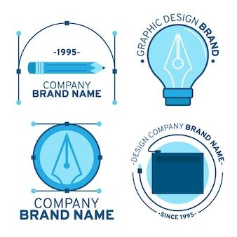 Platte grafisch ontwerper logo sjabloon set