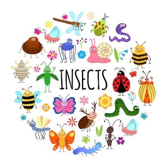 Platte grappige insecten ronde concept met spin worm sprinkhaan mug wesp kevers slak mier lieveheersbeestje libel rups bijen bloemen geïsoleerde illustratie