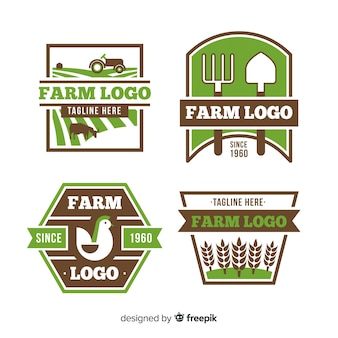 Platte groene boerderij logo collectie