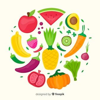 Platte groente en fruit achtergrond