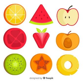 Platte groenten en fruit achtergrond