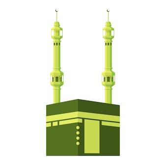 Platte grote moskee van mekka met ramadan tone