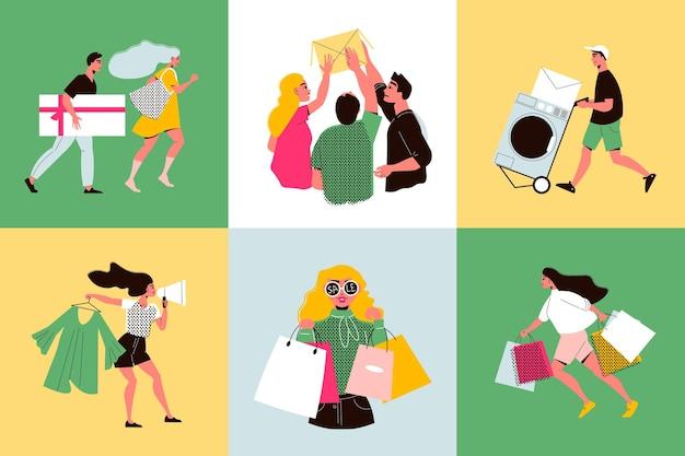 Platte grote verkoop ontwerpconcept met tevreden klanten en hun aankopen geïsoleerd