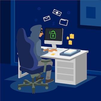Platte hackeractiviteit geïllustreerd