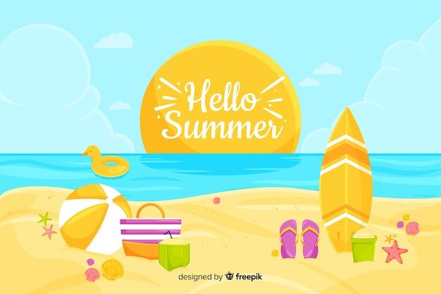 Platte hallo zomer achtergrond