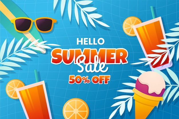 Platte hallo zomer illustratie