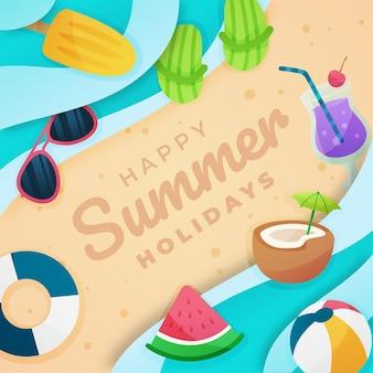 Platte hallo zomer met strand