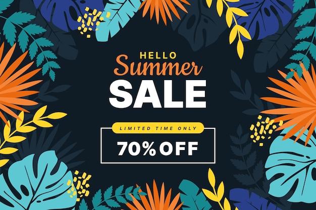 Platte hallo zomer verkoop illustratie