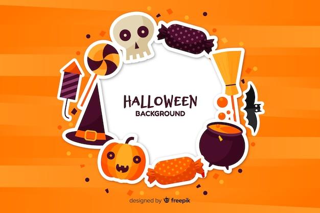 Platte halloween achtergrond met feestaccessoires