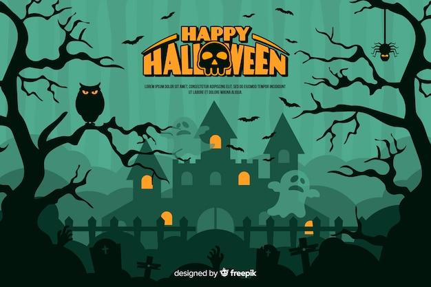 Platte halloween achtergrond met spookhuis