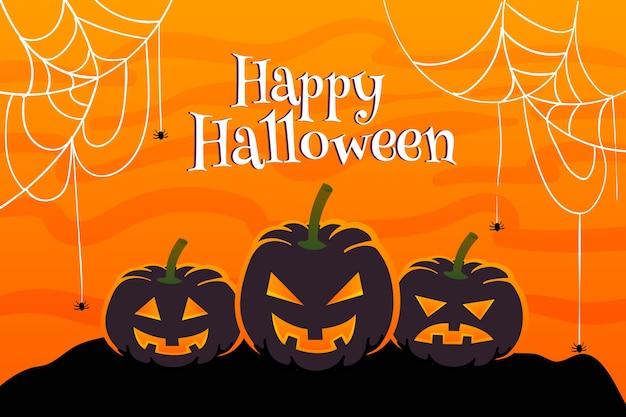 Platte halloween achtergrond spinnenweb en pompoen