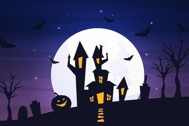 Platte halloween achtergrond Gratis Vector