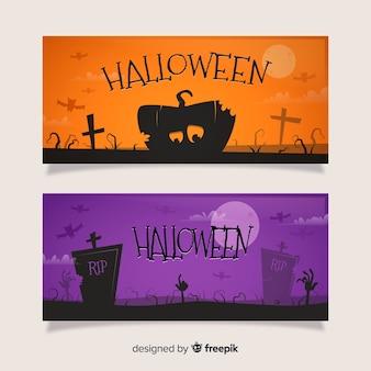 Platte halloween banners oranje en paars