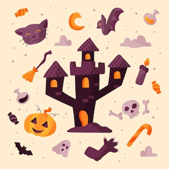 Platte halloween-element collectie