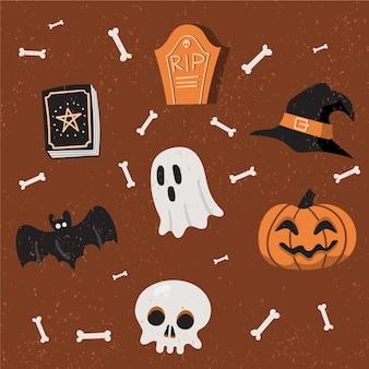 Platte halloween-element collectie