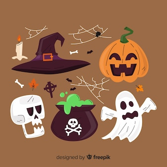 Platte halloween elementenverzameling