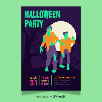 Platte halloween-feest poster sjabloon