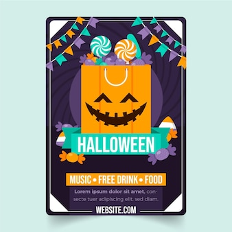 Platte halloween-feest verticale flyer-sjabloon