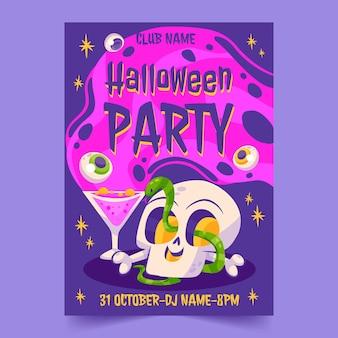 Platte halloween-feest verticale postersjabloon
