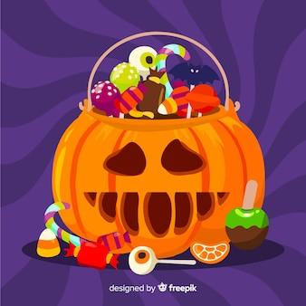 Platte halloween gesneden pompoen tas