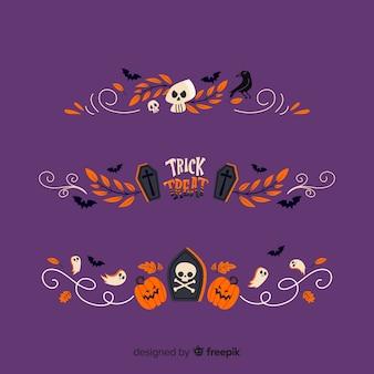 Platte halloween grens collectie op paarse achtergrond