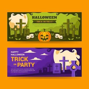 Platte halloween horizontale banners set