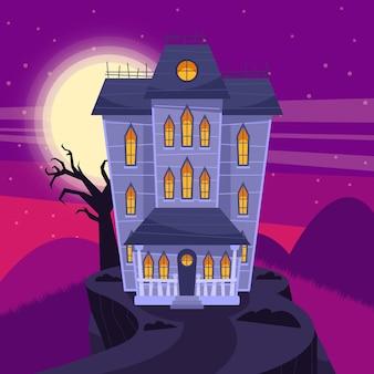Platte halloween huis illustratie