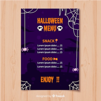Platte halloween menusjabloon met schedel en spinnenwebben