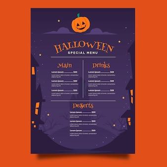 Platte halloween menusjabloon