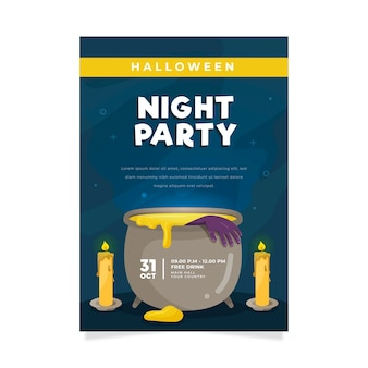 Platte halloween party poster met illustraties
