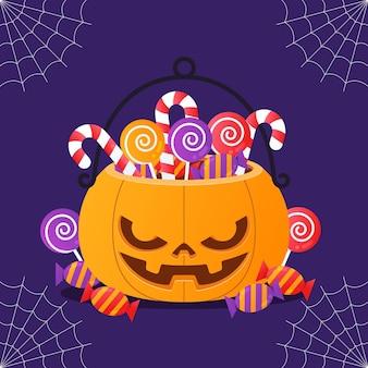 Platte halloween pompoen tas