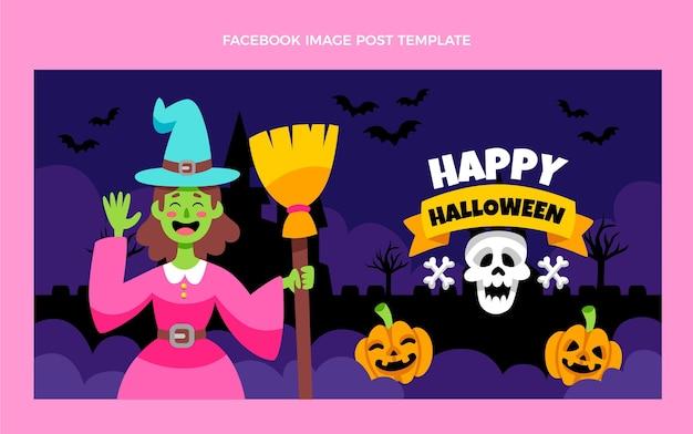 Platte halloween-postsjabloon voor sociale media