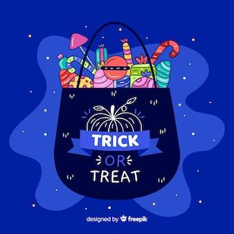 Platte halloween tas gevuld met snoep