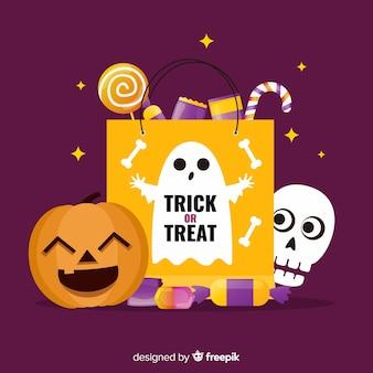 Platte halloween tas met pompoen en schedel