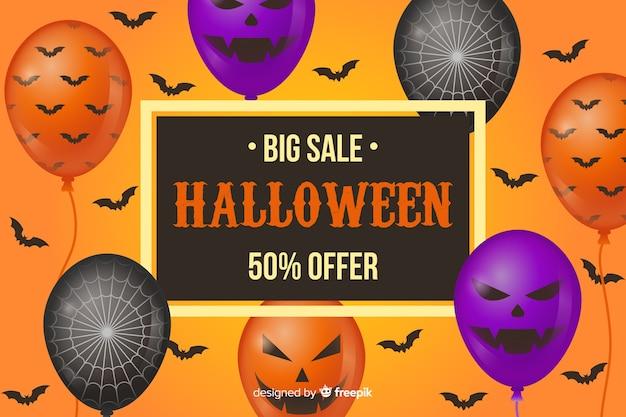 Platte halloween verkoop achtergrond met ballonnen