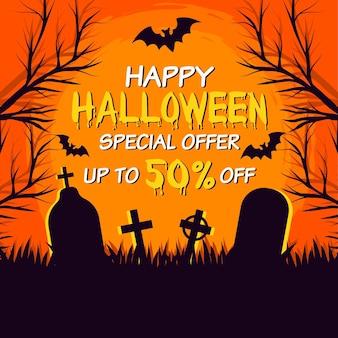 Platte halloween verkoop concept