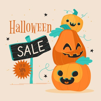Platte halloween verkoop illustratie